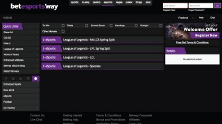 Betway Esports LoL Betting Screen
